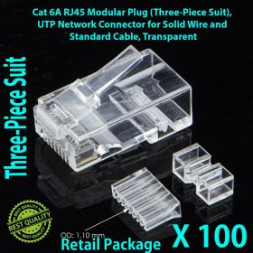 Cat 6A RJ45 Modular Plug (Three-Piece Suit), UTP Network Connector for Solid