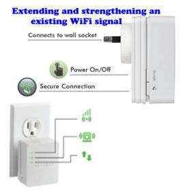 WiFi Booster for Mobile amplifies WiFi coverage for mobile devices in the home by extending and strengthening an existing WiFi signal, giving you the ability to enjoy an improved wireless experience on iPads and Android tablets, smartphones, netbooks and e-readers.