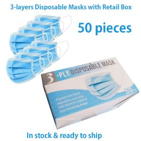 3-ply disposable face masks, complete with memory steel bar
